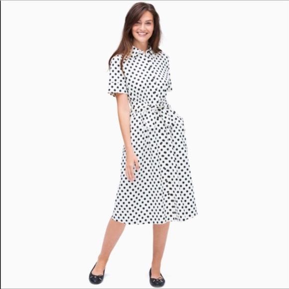 Kate Spade picture dot tie waist shirt dress